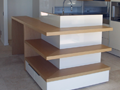 Custom 2pak island bench with veneer shelving