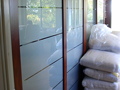 Jarrah Sliding Doors with Sandblasted Glass